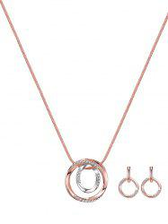 Cercle alliage strass Collier Set boucles d'oreilles - Or de Rose