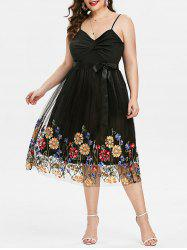 Plus Size Embroidered Front Twist Cocktail Dress -