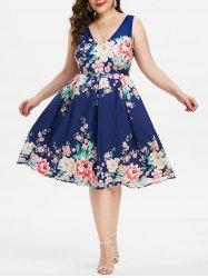 Plus Size Plunging Neckline Floral Print Party Dress -