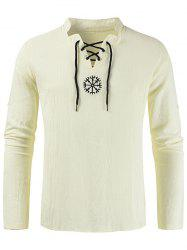 Embroidery Lace-up Decorated Long-sleeved Shirt -