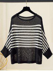 Plus Size manches Batwing Pull à rayures -