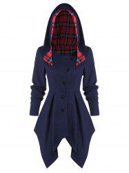 Tartan Panel Button Up Asymmetric Coat -