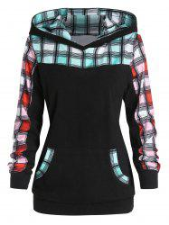 Checked Panel Front Pocket Casual Hoodie -