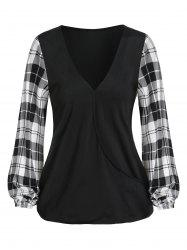 V Neck Plaid Panel Lantern Sleeve T Shirt -