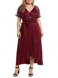 Plus Size Sequin Ruffled Maxi Cocktail Evening Dress -