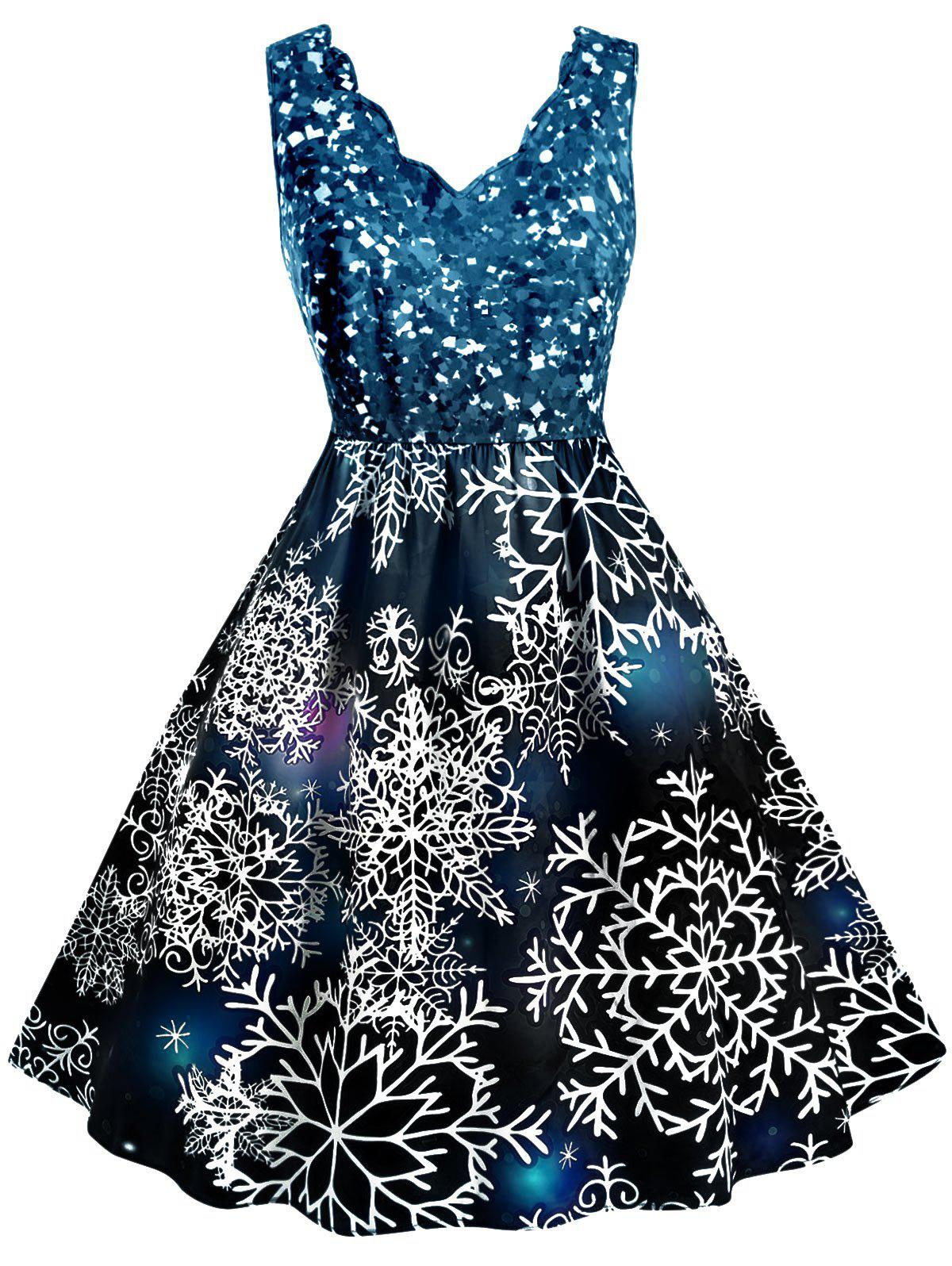 Sale Scalloped Collar Snowflake Print Christmas Plus Size Dress