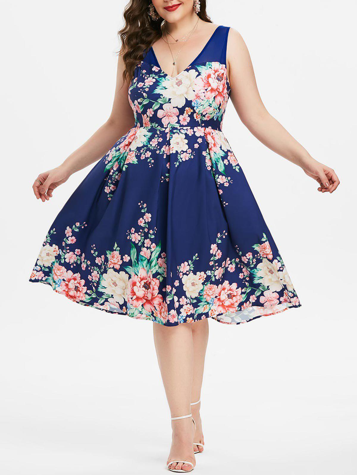 Discount Plus Size Plunging Neckline Floral Print Party Dress
