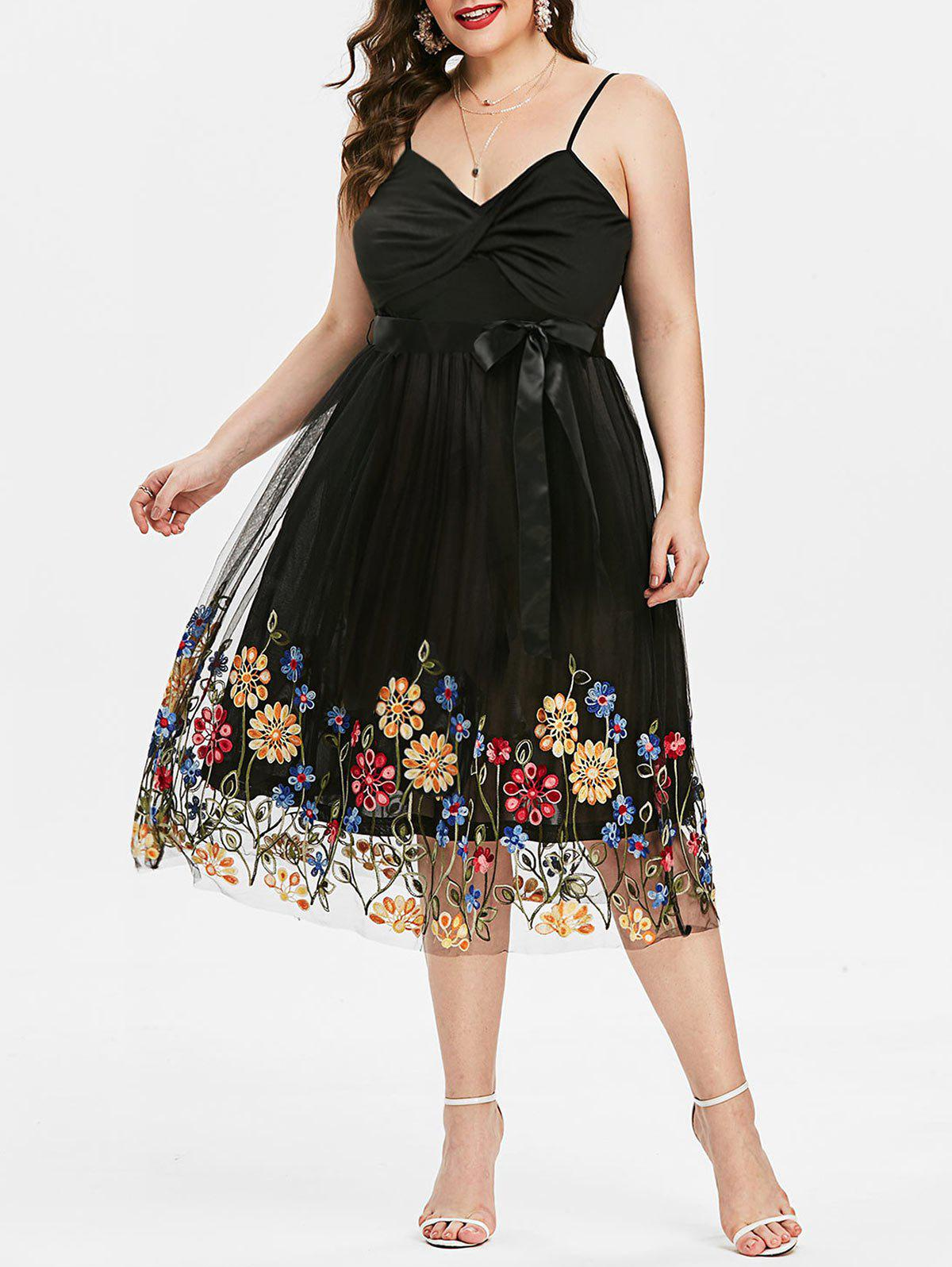 Store Plus Size Embroidered Front Twist Cocktail Dress