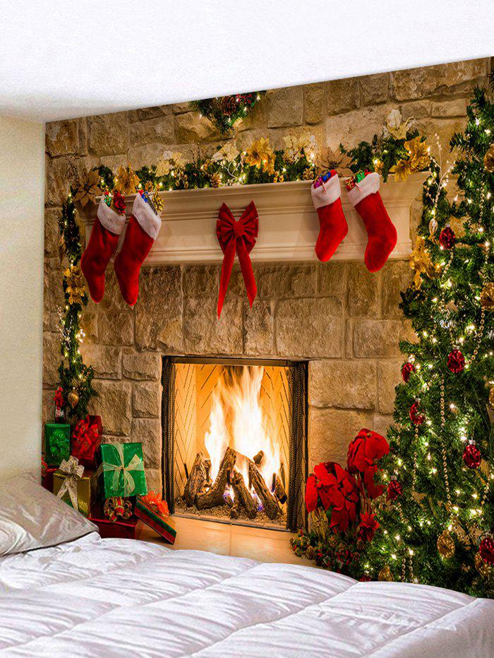 Fancy Christmas Tree Gifts Fireplace Print Tapestry Wall Hanging Art Decor