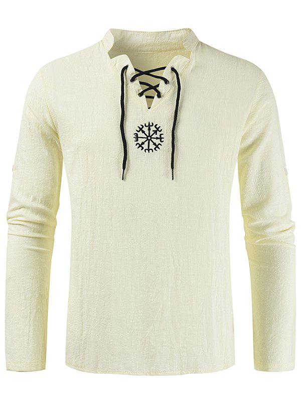 Cheap Embroidery Lace-up Decorated Long-sleeved Shirt