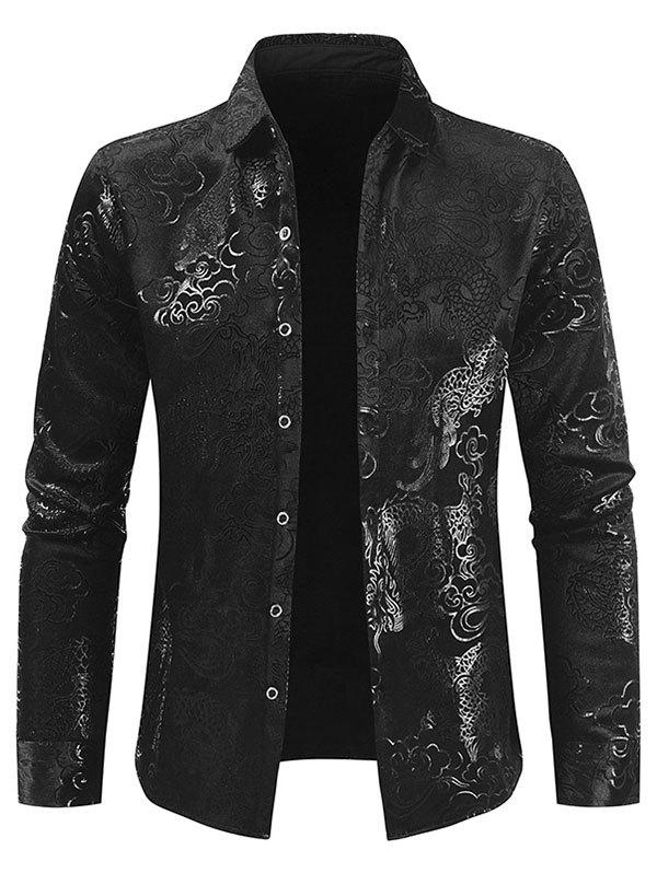 Outfits Dragon Cloud Jacquard Button Fleece Shirt