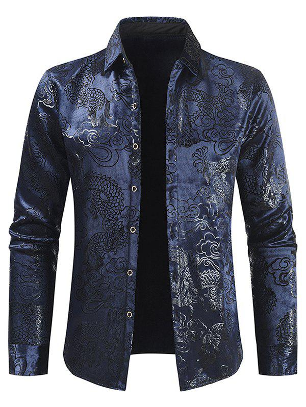 Online Dragon Cloud Jacquard Button Fleece Shirt