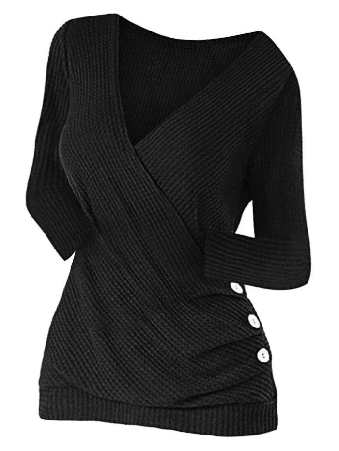 Hot Mock Button Ruched Surplice Knitwear