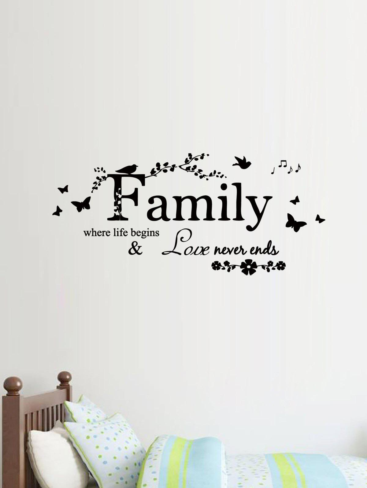 Hot Family Quote Butterfly Print Decorative Wall Art Stickers