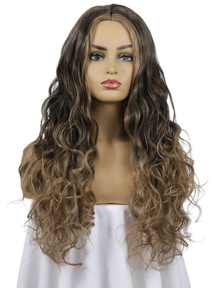 Outfit Ombre Center Parting Long Body Wave Synthetic Wig