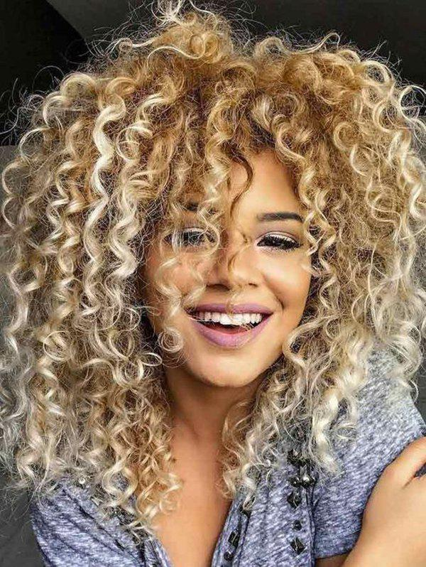 Cheap Afro Curl Synthetic Long Wig