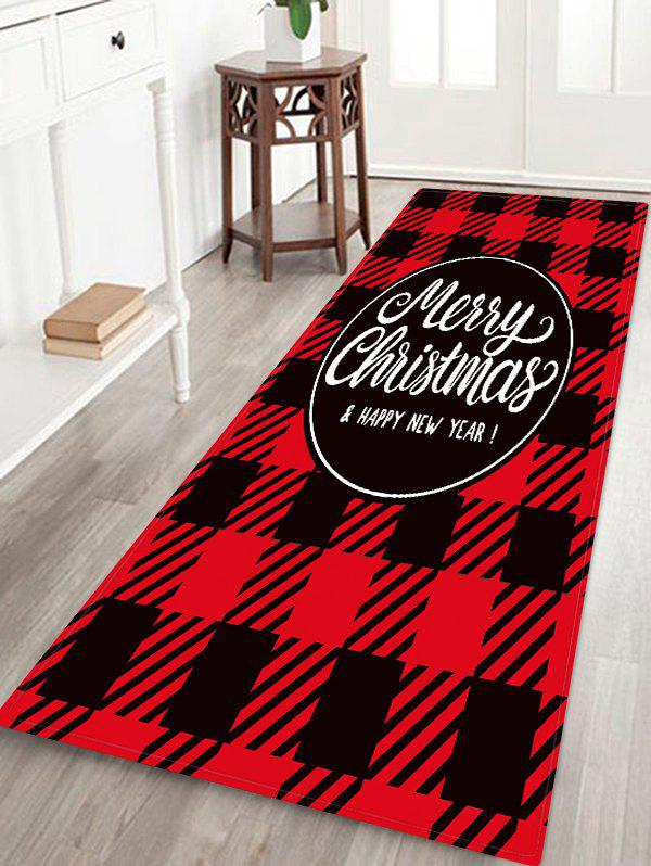 New Christmas Plaid Letter Print Floor Rug