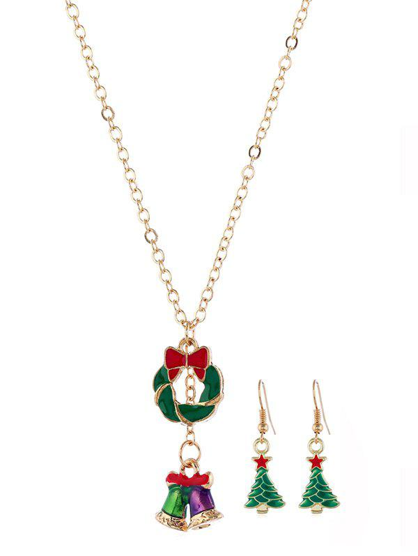 Discount Christmas Tree Bell Necklace Earring Set