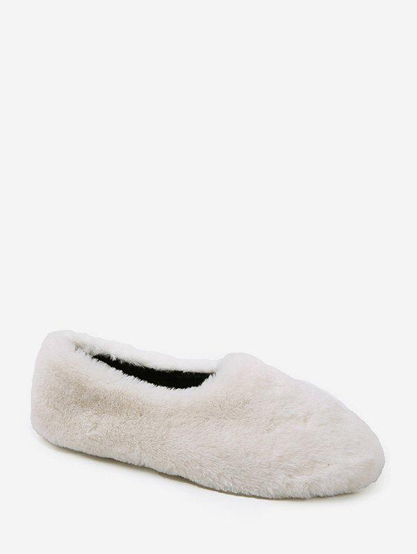 Fashion Faux Fur Slip On Round Toe Shoes