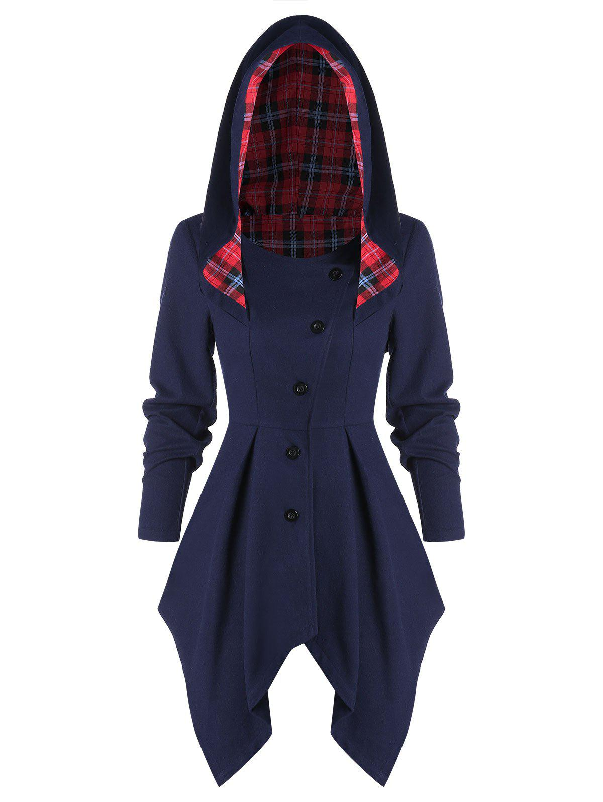 Sale Tartan Panel Button Up Asymmetric Coat