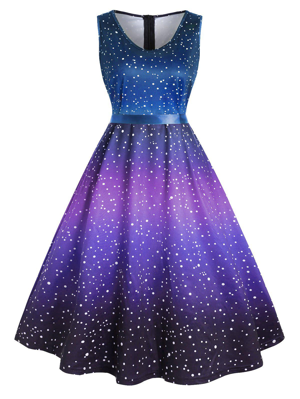 New Plus Size Vintage Polka Dot Ombre Swing Dress