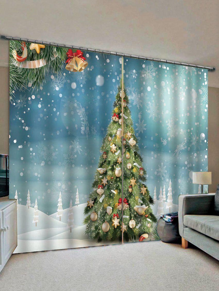 Buy 2 Panels Christmas Tree Snowflakes Print Window Curtains