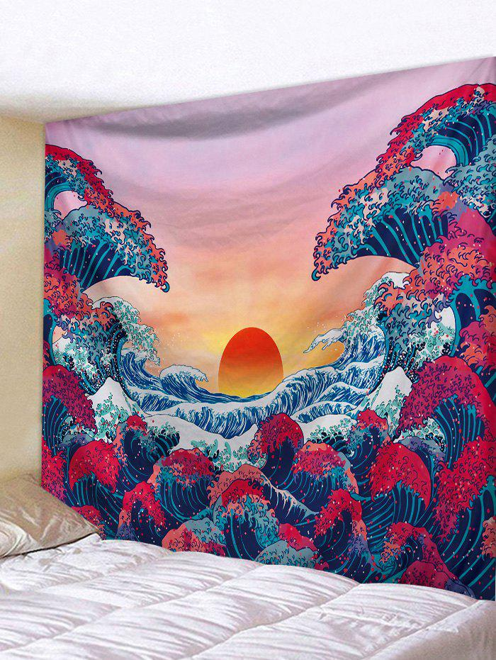Latest Sunset Ocean Wave Print Japanese Tapestry Wall Hanging Art Decoration
