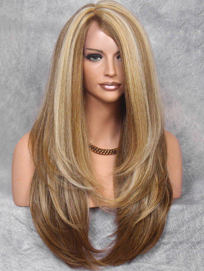 Best Inclined Bang Colormix Straight Long Synthetic Wig