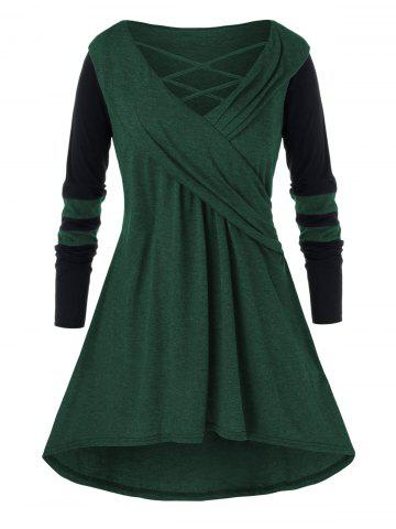 Plus Size Casual Cowl Collar Long Jointed Top - DARK FOREST GREEN - L