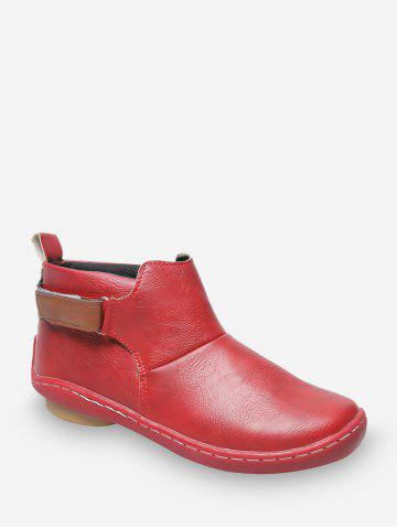Hook Loop PU Leather Round Toe Boots