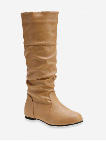 Solid Color Ruched Knee High Boots