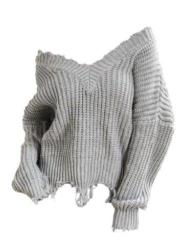 Plus Size Off The Shoulder Frayed Chunky Sweater