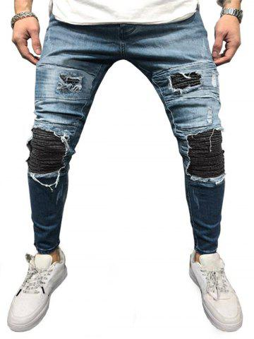 Distressed Pleated Patchwork Ripped Pencil Jeans