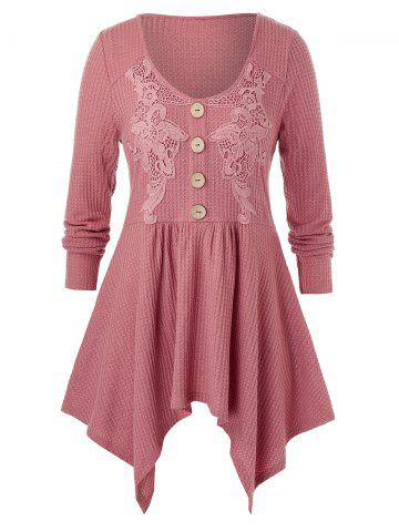 Plus Size Guipure Lace Asymmetrical Handkerchief Knitted Tunic Tee - PINK - 4X