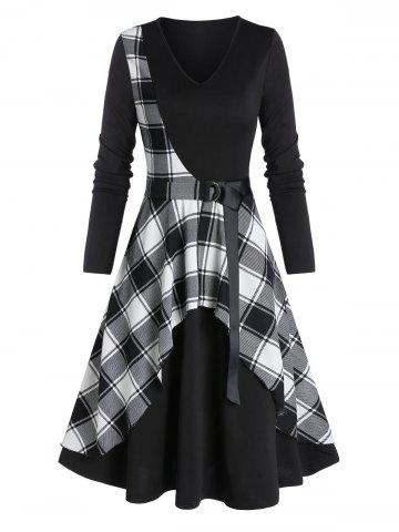 Checked Panel Belted Midi A Line Dress
