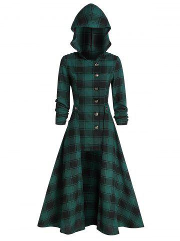 Hooded Plaid Print Button Up Coat and Midi Skirt
