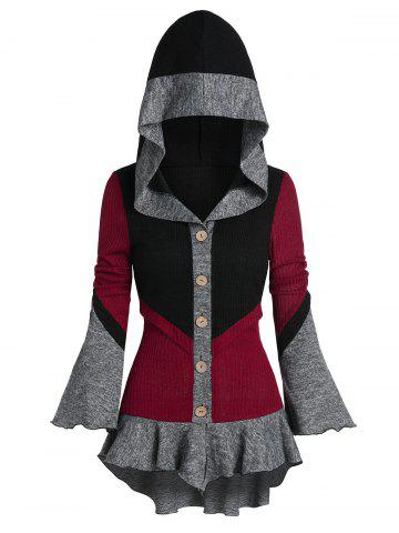 Poet Sleeve Contrast Hooded High Low Cardigan - MULTI-A - L