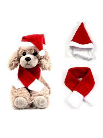 Pet Clothes Dog Clothes Christmas Hat and Scarf - RED - L
