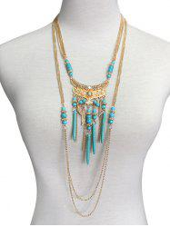 Boho Artificial Turquoise Feather Layered Necklace -