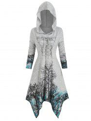 Plus Size Halloween Lace Up Tree Print Knitted Dress -