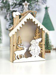 Christmas Decoration Santa Claus Snowman Elk Wooden House with LED Night Light -