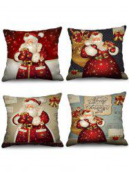4 Pcs Christmas Santa Claus Gifts Print Decorative Pillowcases -