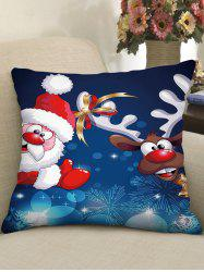 Christmas Cartoon Santa Claus Elk Print Decorative Pillowcase -