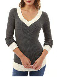 V Neck Contrast Trim Casual Sweater -