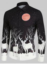 Christmas Elks Moon Night Print Long Sleeve Button Up Shirt -