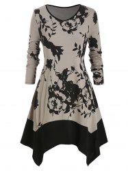 Plus Size Flower V Neck Mouchoir Robe - Noir L