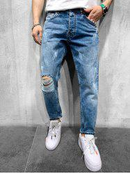 Destroy Wash Scratch Jeans Longs Raides -