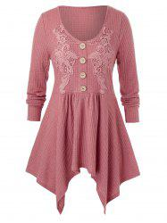 Plus Size Guipure Lace Asymmetrical Handkerchief Knitted Tunic Tee -