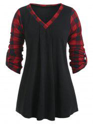V Neck Plaid Panel Long Sleeve Blouse -