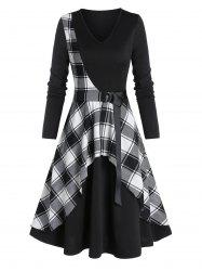 Checked Panel Belted Midi A Line Dress -